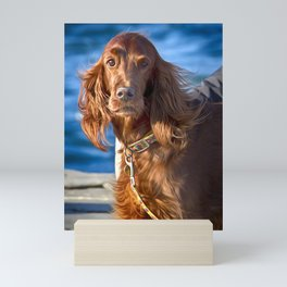Setter dog on the pier Mini Art Print