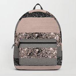 Blush Glitter Glam Stripes #1 #shiny #decor #art #society6 Backpack