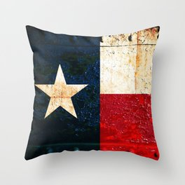 Texas Flag on Rusted Metal Sheet Throw Pillow