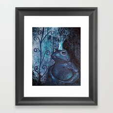 The Frog King - blue Framed Art Print