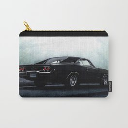 CLASSIC MUSCLE CAR IN BLACK DURING FOG Carry-All Pouch