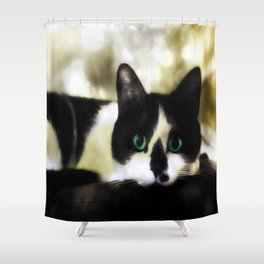 The Tuxedo with the Green Cat Eyes Shower Curtain