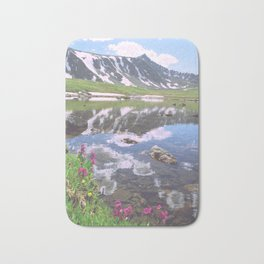 Pacific Peak Reflection on Upper Mohawk Lake, Colorado Bath Mat