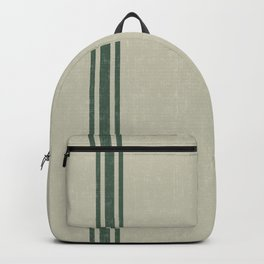 Vintage Country French Grainsack Green Stripes Linen Color Background Backpack