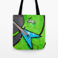 heavy metal Tote Bags featuring Heavy Metal by Chantal Seigneurgens