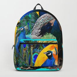 STATELY BLUE PEACOCKS FLOCK Backpack