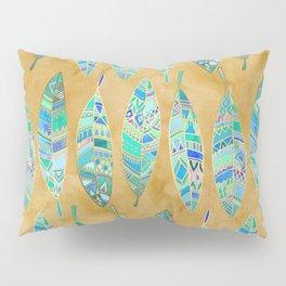 Jeweled Enamel Leaves on Tan Pillow Sham
