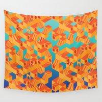 escher Wall Tapestries featuring Escher cube by Tony Vazquez