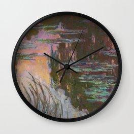 Water Lilies - Setting Sun by Claude Monet Wall Clock