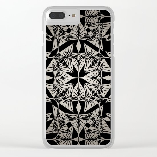 Art Deco 42 Black and gray ornament . Clear iPhone Case