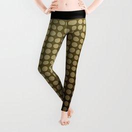 Olive green polka dot pattern . Leggings