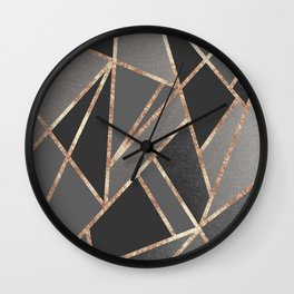 Classic Silver Gray Charcoal Rose Gold Geo #1 #geometric #decor #art #society6 Wall Clock