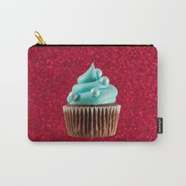 Cupcake Love | Aqua Swirl on Red Sparkle Carry-All Pouch