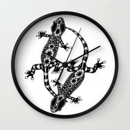 Tangled Geckos on White Wall Clock