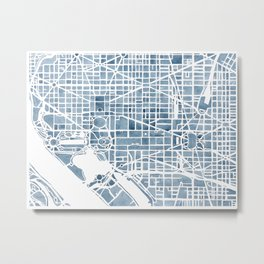Washington DC Blueprint watercolor map Metal Print