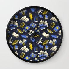 Spellbooks, blue Wall Clock