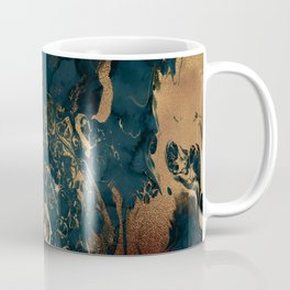 Emerald Indigo And Copper Glamour Marble Coffee Mug