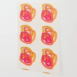 Funky Retro 70' Style Pattern Orange Pink Greindent Striped Circles Mid Century Colorful Pop Art Wallpaper