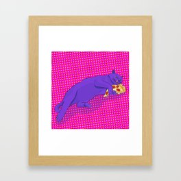 Paws off my pizza! Framed Art Print