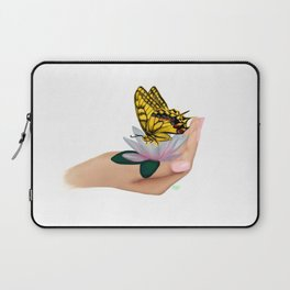 Butterfly on water lily Laptop Sleeve