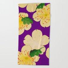 Purple Japanese Floral Vintage Pattern Beach Towel