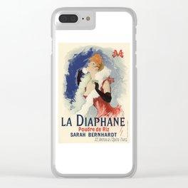 Belle Epoque vintage poster, Sarah Bernhardt, La Diaphane Clear iPhone Case