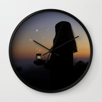 fireflies Wall Clocks featuring Fireflies by Skye Zambrana