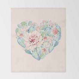 Cactus Rose Heart on Pink Throw Blanket