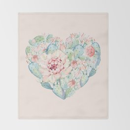Cactus Rose Heart on Pink Throw Blanket