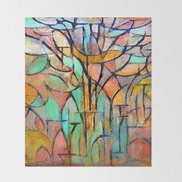 Piet Mondrian Trees Throw Blanket