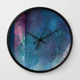 Atmosphere // blue magenta abstract textural painting, modern Wall Clock