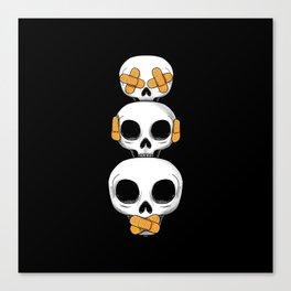 Cute Skulls No Evil II Canvas Print