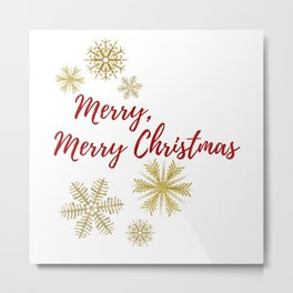 Merry, Merry Christmas - Red Gold White - Snowflakes Winter Metal Print
