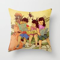 fairy tale Throw Pillows featuring Fairy Tale by Radical Ink by JP Valderrama