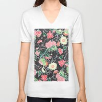 preppy V-neck T-shirts featuring Pastel preppy hand drawn garden flowers chalkboard by Girly Trend