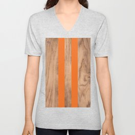 Wood Grain Stripes - Orange #840 Unisex V-Neck