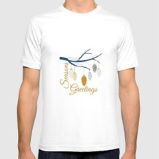 Seaons Greetings With Pine Cones MEDIUM White Mens Fitted Tee