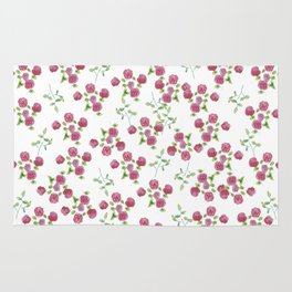 Watercolor roses on white backgroung Rug