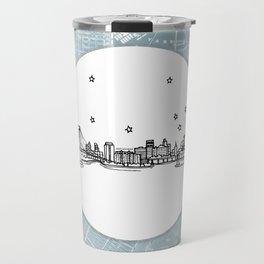 Brooklyn, New York City Skyline Illustration Drawing Travel Mug