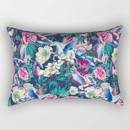 Unicorn and Floral Pattern Rectangular Pillow