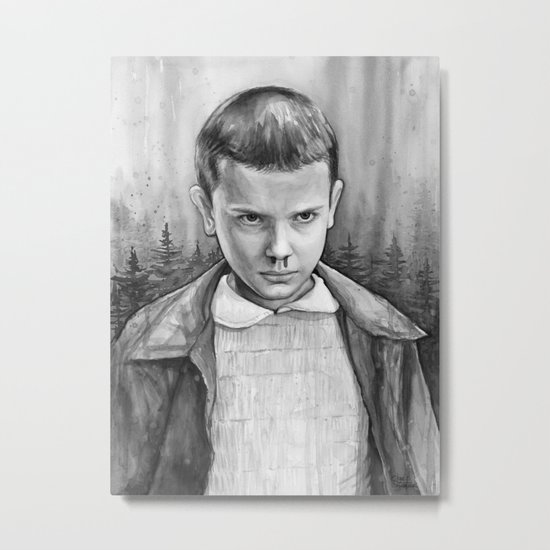 Stranger Things Eleven Watercolor Painting Black and White Metal Print