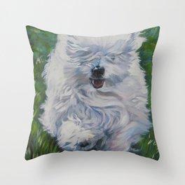 The Coton de Tuléar dog art from an original painting by L.A.Shepard Throw Pillow