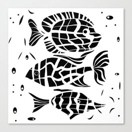 Black and white illustration . Fish . Canvas Print