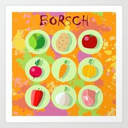 Borsch. Russian traditional dish. Art Print