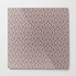 Art Nouveau Pattern Pink Gray Metal Print