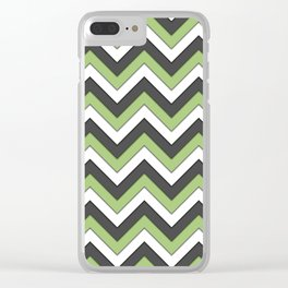 Green Charcoal and White Chevrons Clear iPhone Case