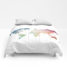 Painted World Map Comforters