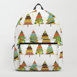 Abstract pine tree forest seamless pattern background Backpack