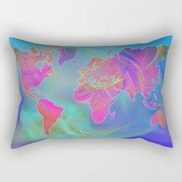 World Map Fractal Rectangular Pillow