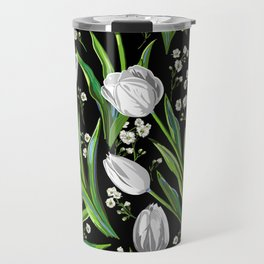 White Tulips + Babys Breath | Black Travel Mug